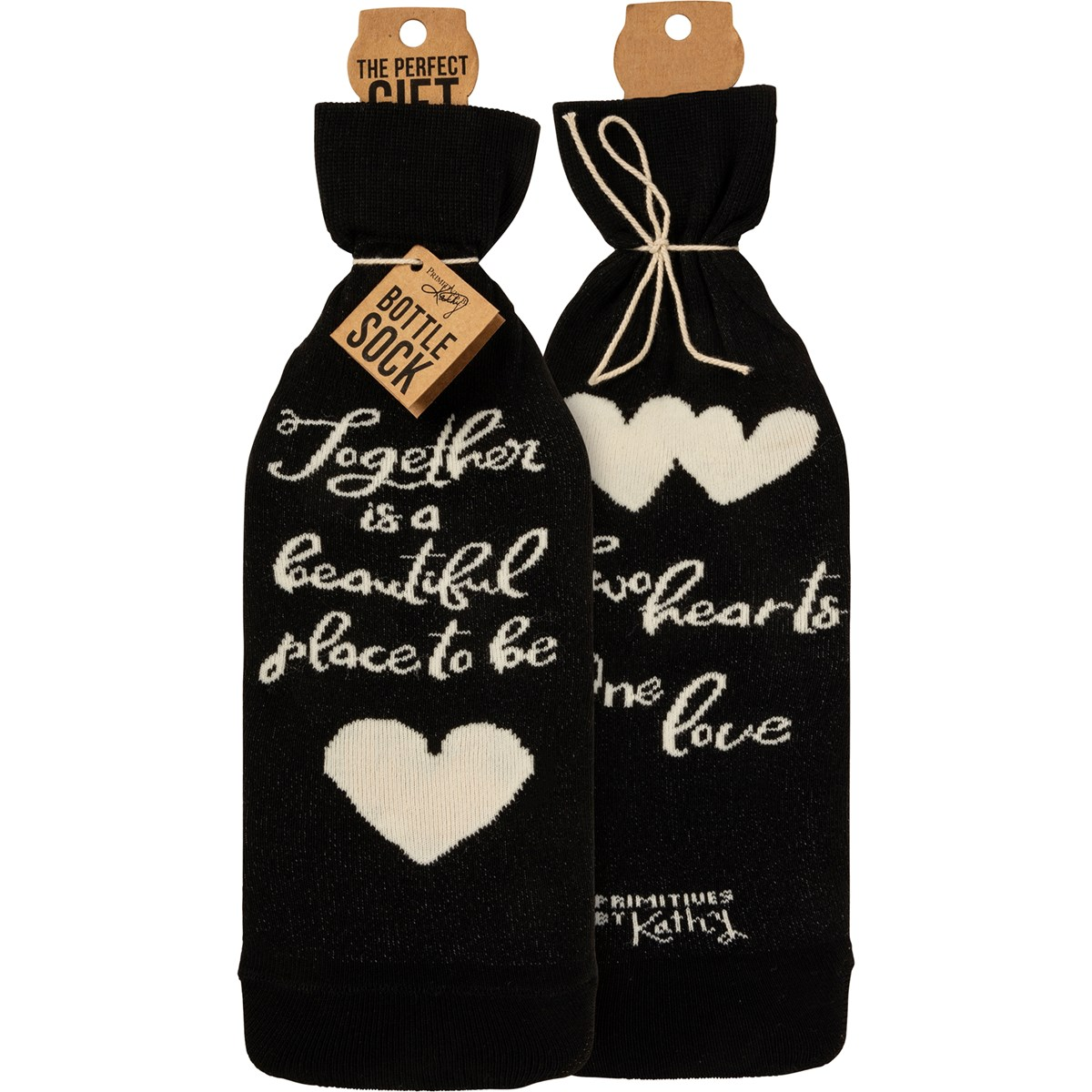 "Bottle Sock - Two Hearts One Love - 3.50"" x 11.25"", Fits 750mL to 1.5L bottles - Cotton, Nylon, Spandex"