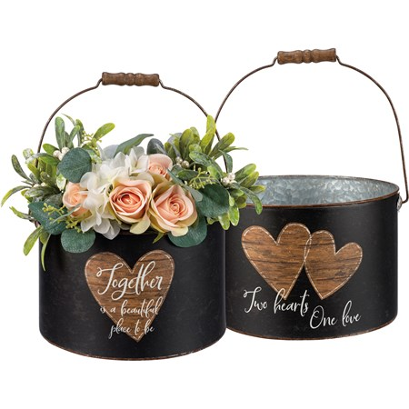 "Bucket - Together Is A Beautiful Place To Be - 9.25"" Diameter x 6.25"" - Metal, Paper, Wood"