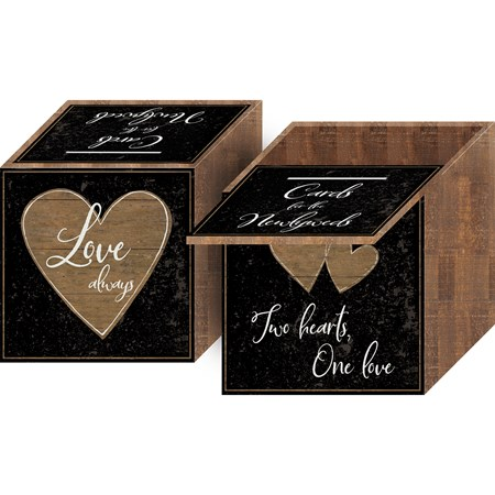 "Card Box - Cards For The Newlyweds - 8"" x 8"" x 8"" - Wood, Paper"