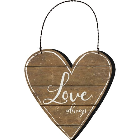 "Hanging Decor - Love Always - 8.75"" x 9"" x 0.25"" - Wood, Paper, Wire"
