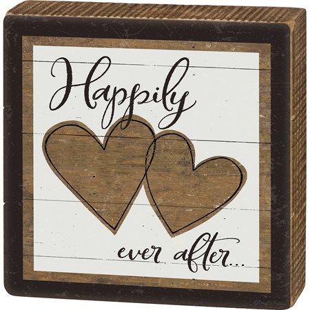"Box Sign - Happily Ever After - 6"" x 6"" x 1.75"" - Wood, Paper"