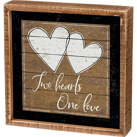 "Inset Box Sign - Two Hearts One Love - 8"" x 8"" x 1.75"" - Wood, Paper"