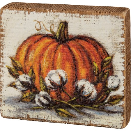 "Block Sign - Orange Pumpkin - 3.50"" x 3.25"" x 1"" - Wood"
