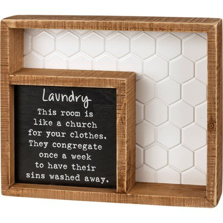 "Inset Box Sign - Washed Away - 9"" x 7.50"" x 1.75"" - Wood"