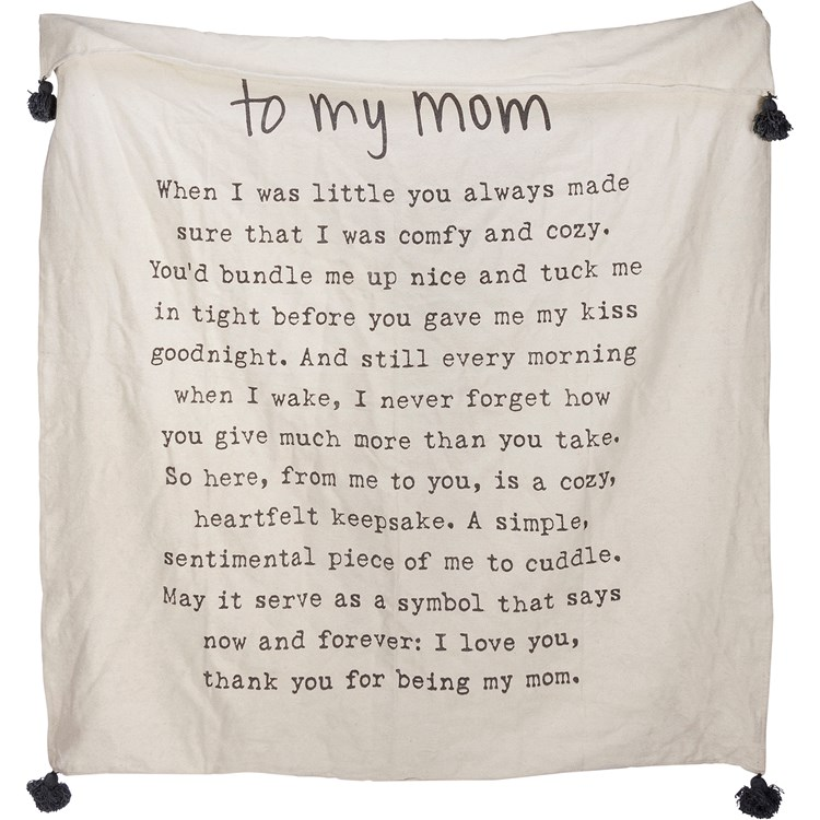 "Throw - To My Mom - 50"" x 60"" - Cotton"