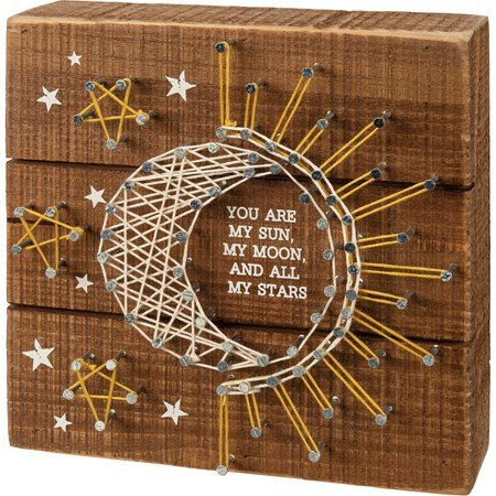 "String Art - You Are My Sun And All My Stars - 6"" x 6"" x 1.75"" - Wood, Metal, String"