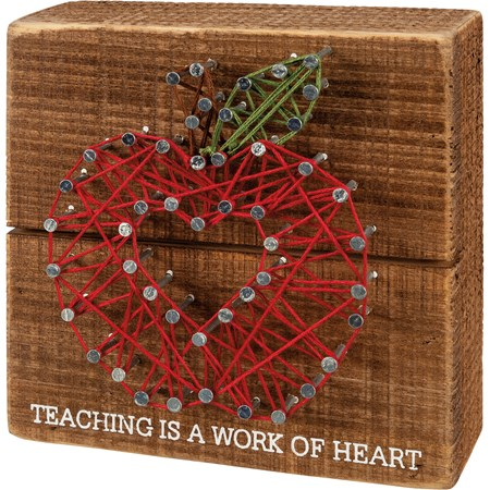 "String Art - Teaching Is A Work Of Heart - 4.50"" x 4.50"" x 1.75"" - Wood, Metal, String"