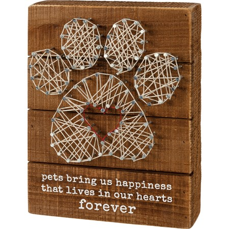 "String Art - Happiness In Our Hearts Forever - 6"" x 8"" x 1.75"" - Wood, Metal, String"