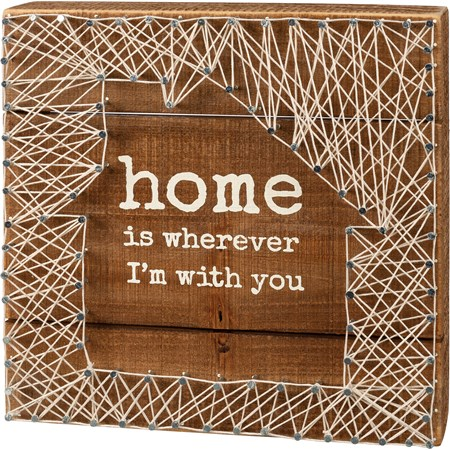 "String Art - Home Is Wherever I'm With You - 8"" x 8"" x 1.75"" - Wood, Metal, String"