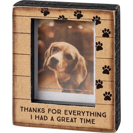 "Block Frame - I Had A Great Time - 3.25"" x 4"" x 1"", Fits 2"" x 3.25"" Photo - Wood, Paper, Glass"