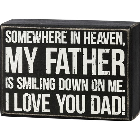 "Box Sign - I Love You Dad - 5"" x 3.50"" x 1.75"" - Wood"
