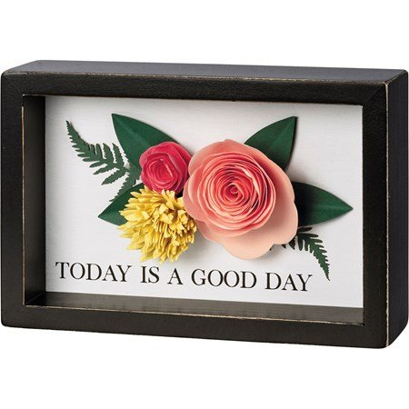 "Inset Box Sign - Today Is A Good Day - 6"" x 4"" x 1.75"" - Wood, Paper"