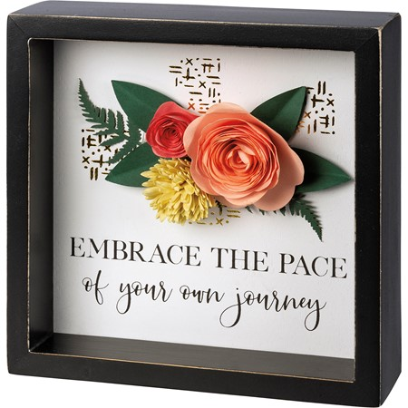 "Inset Box Sign - Your Own Journey - 6"" x 6"" x 1.75"" - Wood, Paper"
