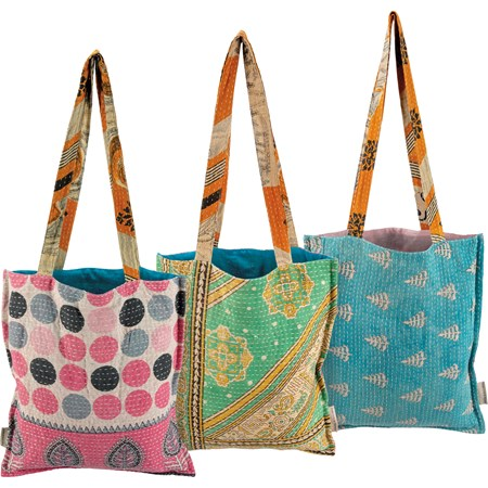 "Tote - Kantha - 14"" x 15.50"", 13"" Handle Drop - Cotton"