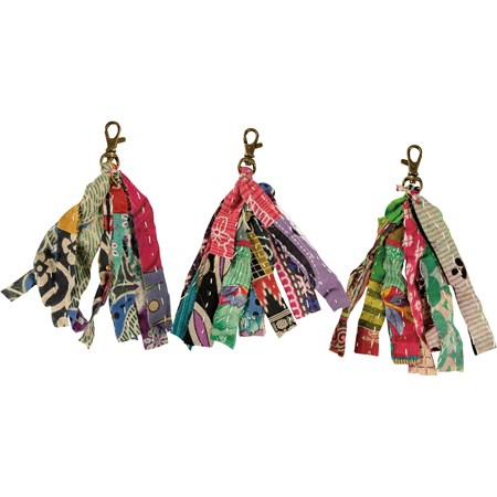 "Keychain - Kantha Strips - 6"" long - Cotton, Metal"