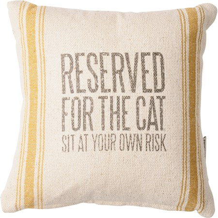 "Pillow - Reserved For The Cat - 10"" x 10"" - Cotton, Polyester, Zipper"
