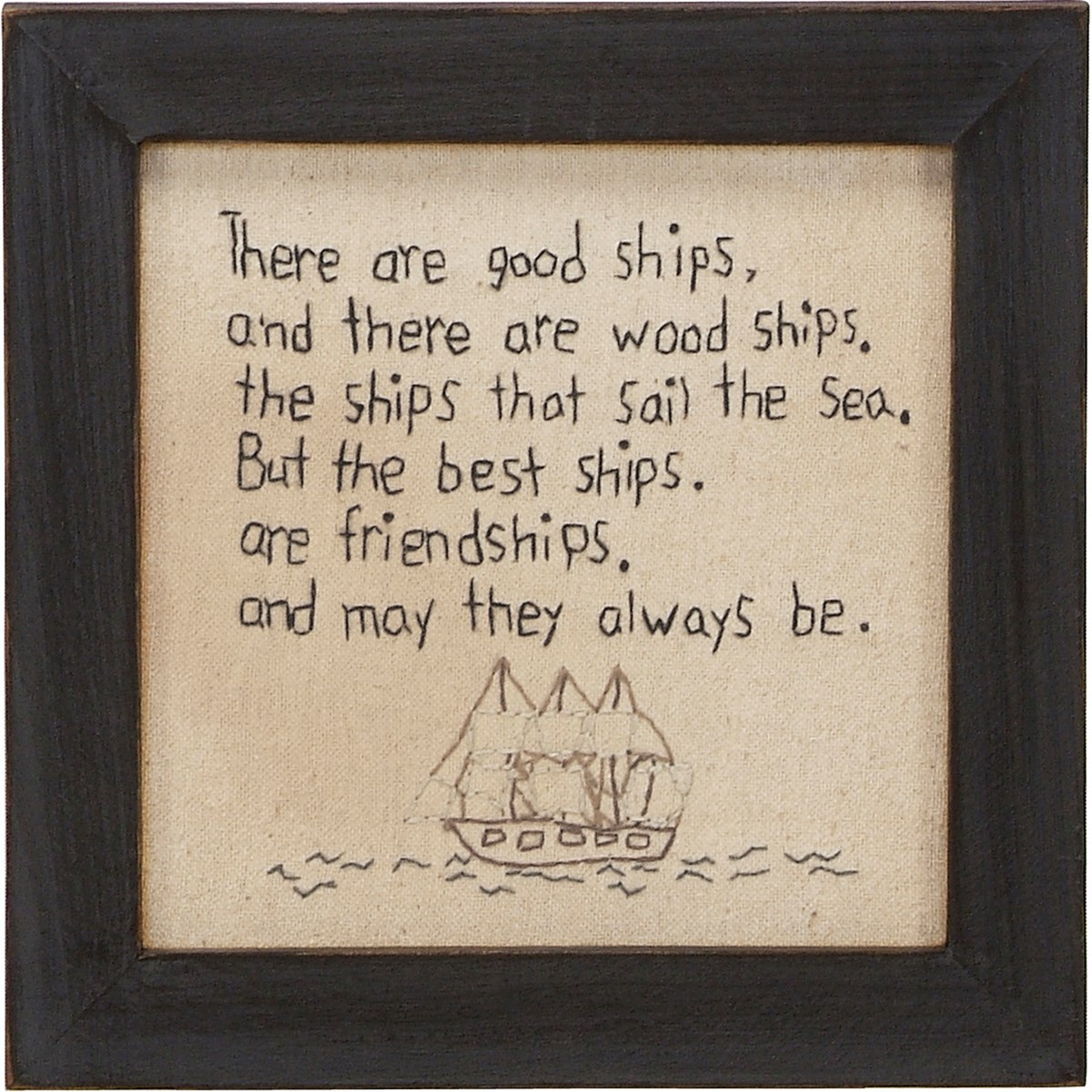 "Stitchery - There Are Good Ships - 7.75"" x 7.75"" x 0.75"" - Fabric, Wood, Glass"