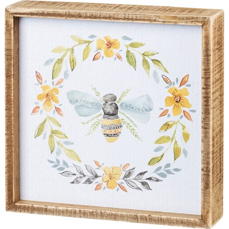 "Inset Box Sign - Bee - 8"" x 8"" x 1.75"" - Wood, Paper"