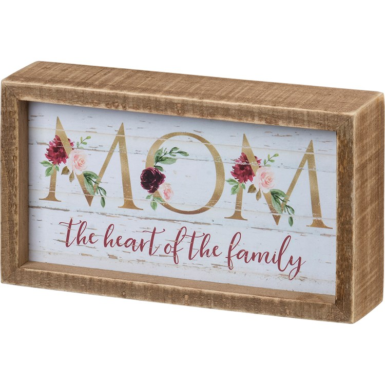 "Inset Box Sign - Mom The Heart Of The Family - 7"" x 4"" x 1.75"" - Wood, Paper"
