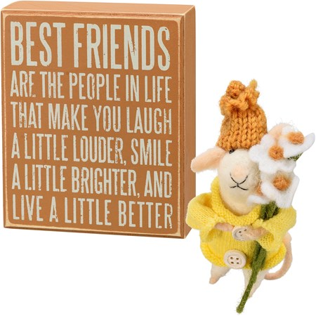 "Felt Gift Set - Best Friends - 5"" x 6"" x 1.75"", 4 x 6"" - Wood, Paper, Felt"