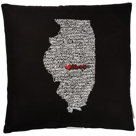 "Pillow - Illinois - 18"" x 18"" - Cotton"