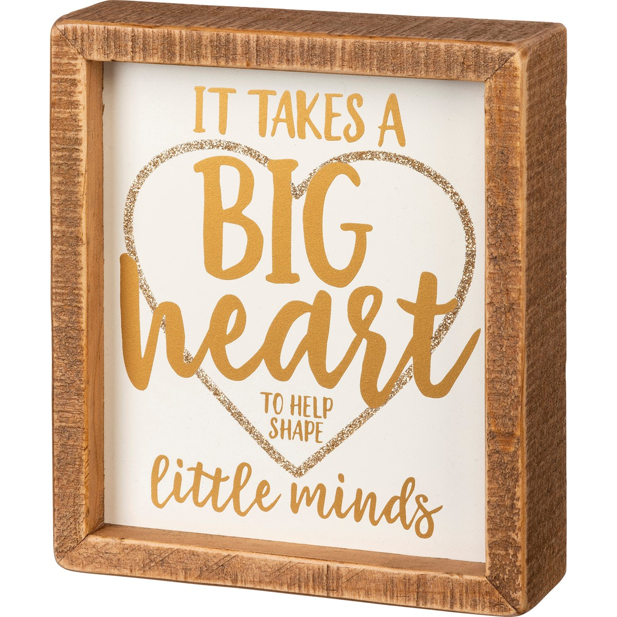 "Inset Box Sign - It Takes A Big Heart - 6"" x 7"" x 1.75"" - Wood"