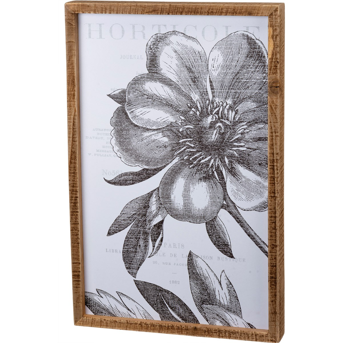 "Inset Box Sign - Floral - 13"" x 20"" x 1.75"" - Wood, Paper"
