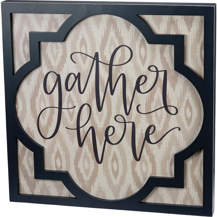 "Inset Box Sign - Gather Here - 20"" x 20"" x 1.75"" - Wood, Paper"