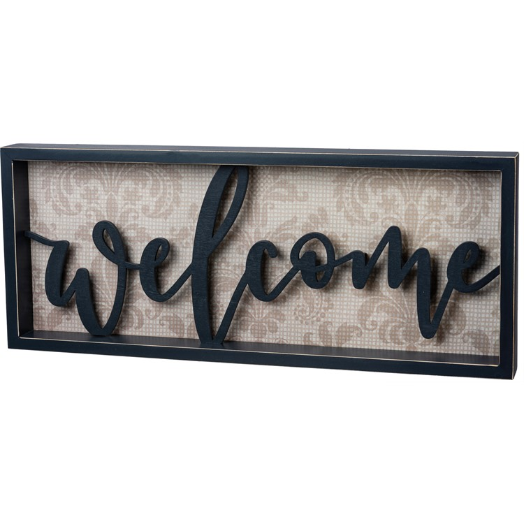 "Reverse Box Sign - Welcome - 22"" x 9"" x 1.75"" - Wood, Paper"