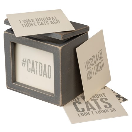 "Words Of Wisdom - Cats  - 3.63"" x 3.50"" x 2.13"" - Wood, Paper"