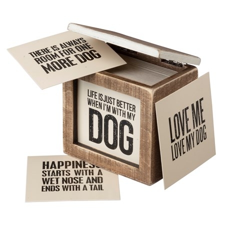"Words Of Wisdom - Dog - 3.63"" x 3.50"" x 2.13"" - Wood, Paper"