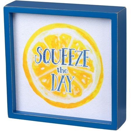 "Inset Box Sign - Squeeze - 7"" x 7"" x 1.75"" - Wood, Paper"
