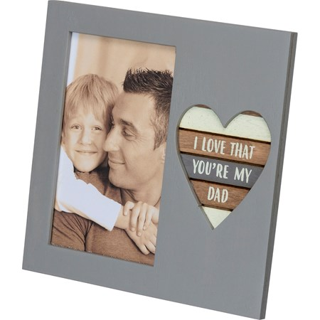 "Plaque Frame - My Dad - 6"" x 6"" x 0.50"", Fits 3"" x 5"" Photo - Wood, Metal, Glass"
