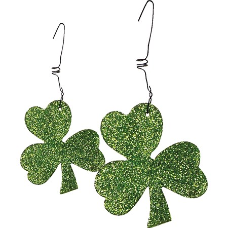 "Ornament Set - Shamrocks - 1.50"" - 2"" x 1.75"" - 2.5"" - Metal, Glitter, Wire"