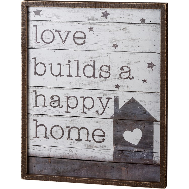 "Inset Box Sign - Love Builds - 15"" x 19"" x 1.75"" - Wood Paper"