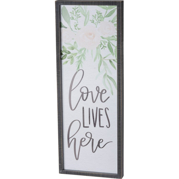 "Inset Box Sign - Love Lives - 9"" x 24"" x 1.25"" - Wood, Paper"