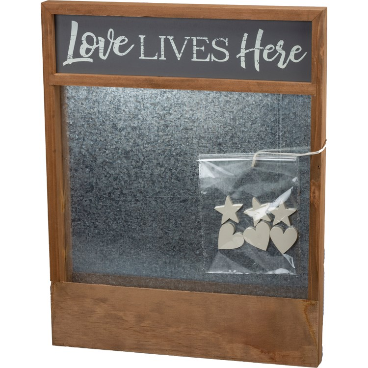 "Magnet Board - Love Lives - 15"" x 19"" x 1.25"" - Wood, Metal, Magnets"