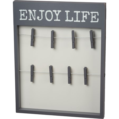 "Photo Clip Frame - Enjoy Life - 15"" x 19"" x 1.25"" - Wood, Wire"