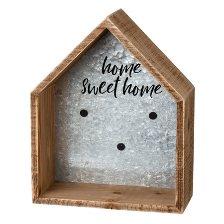 "Shelf - Home Sweet Home - 9.25"" x 11.5"" x 4"" - Wood, Metal, Magnet"