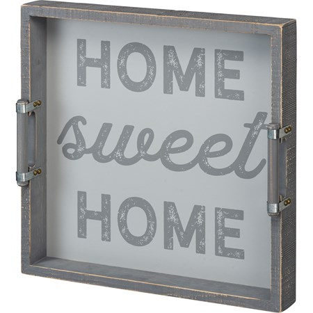 "Tray - Home Sweet Home - 15"" x 15"" x 2"" - Wood, Metal"
