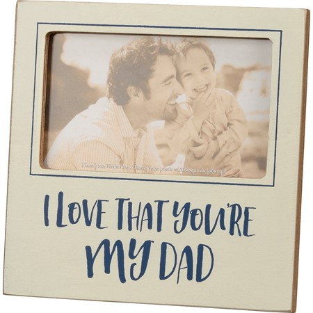 "Plaque Frame - Dad - 6"" x 6"" x 0.50"", Fits 5"" x 3"" Photo - Wood, Glass, Metal"