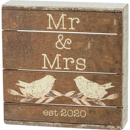 "Slat Box Sign - Mr & Mrs - 6"" x 6"" x 1.75"" - Wood, Paper"