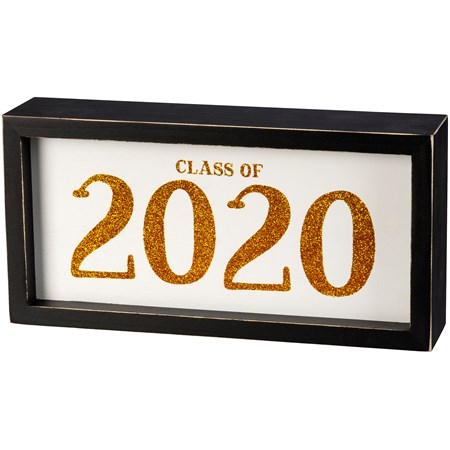 "Box Sign - Class Of 2020 - 8"" x 4"" x 1.75"" - Wood, Glitter"