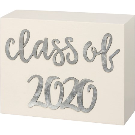 "Box Sign - Class Of 2020 - 5"" x 4"" x 1.75"" - Wood, Metal"