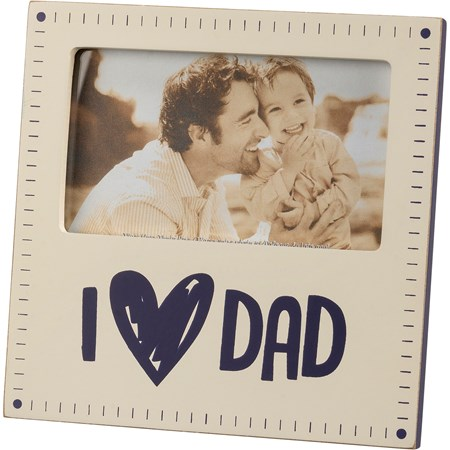 "Plaque Frame - I Love Dad - 6"" x 6"" x 0.50"", Fits 5"" x 3"" Photo - Wood, Glass, Metal"