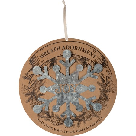 "Wreath Insert - Snowflake - Joy - 10"" x 11""; Backer card: 14"" Diameter - Metal"