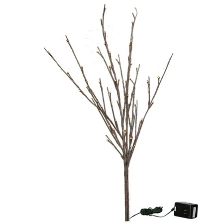 "Willow Twig - 60L Small - 19.75"" Tall, 60 Lights, 16' Cord, 1 Stem - Wire, Plastic, Cord"