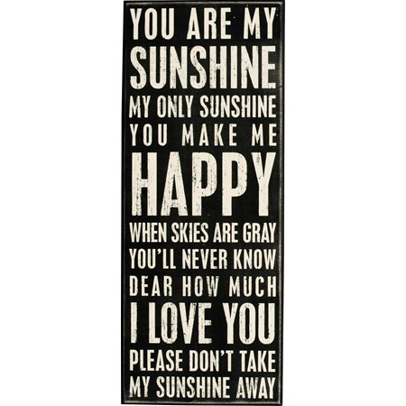 "Box Sign - You Are My Sunshine - 8"" x 20"" x 1.75"" - Wood"