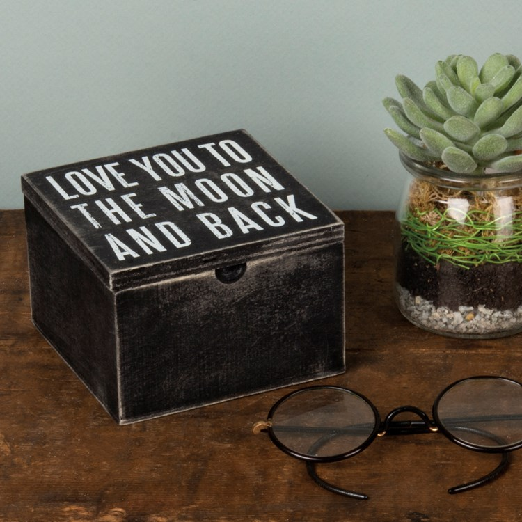 "Hinged Box - Love You To The Moon And Back - 4"" x 4"" x 2.75"" - Wood, Metal"
