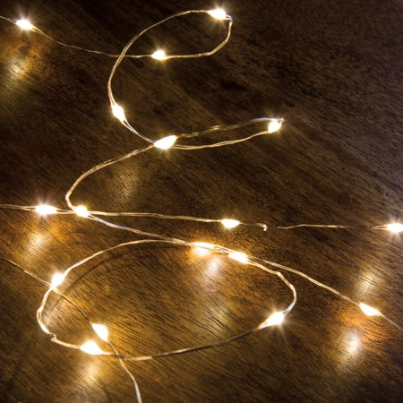 "Copper Wire String Lights - 20 L - 46"" Long, 20 Lights, 12"" Cord - Wire, Plastic, Cord"